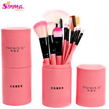 sinma 12pcs makeup brushes set cylinder make up tools pink