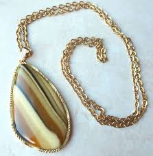 vintage large lucite faux agate slice necklace 1490 p jpg