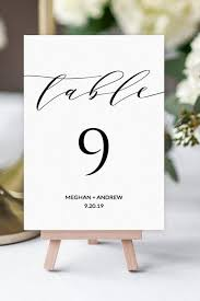 Place Card Holder Template Wedding Table Number Signs Elegant Script Digital Template