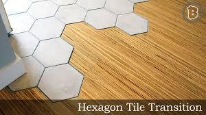 hexagon tile to hardwood floor transition