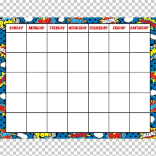 Months Of The Year Chart Book Superhero Calendar Comic Book Month Png Clipart Area