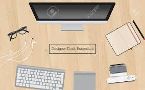 designer office desk isolated objects top view. Design Vector Illustration Of Modern Creative Office Workspace, Workplace A Designer, Various Designer Desk Isolated Objects Top View T