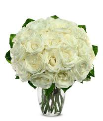 two dozen white roses at from you flowers