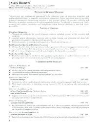 Restaurant Manager Resume Objective Restaurant General Manager Resume Fresh General Manager Resume Hotel