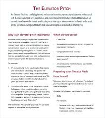 Elevator Pitch Sample Template Word Definition Excel Vraccelerator Co