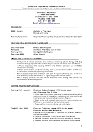 Beginner Pharmacist Resume Sample For Pharmacy Students Vntask Com