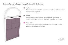 exterior parts of a double hung window with circlehead