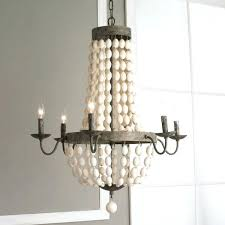endearing beaded chandeliers for 2 white wood beads and iron basket chandelier c living marvelous
