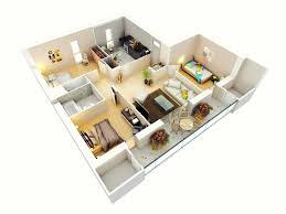 Small Picture 25 More 3 Bedroom 3D Floor Plans