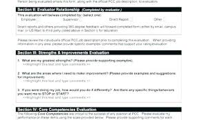 Performance Appraisal Sample Form Employee Review Forms Performance Examples Form Excellent