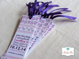 Purple And Fuchsia Indian Floral Save The Date Bookmarks Imbue You