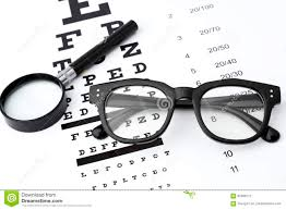 Eyesight Test With Black Small Magnifier Black Glasses And