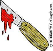 Knife covered in blood at a crime scene. Bloody Knife Clip Art Royalty Free Gograph
