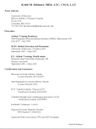 Sample Sports Resume Sample Resume For Athletic Trainer Danetteforda