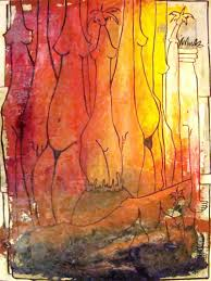 cuban artist navarrete oil painting with collage on paper
