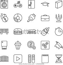 Thin Line Icon Set Graduate Vector Royalty Free Stock Image