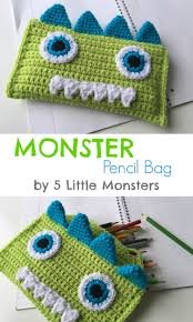 Crocheted Monster Pencil Bag - 5 Little Monsters