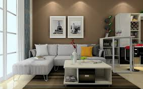 3D elegant living room with light brown wall