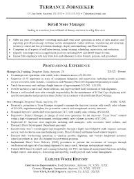 Management Sample Resume Retail Sales Manager Resume Samples With