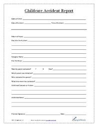 Child Care Incident Report Example Child Accident Report Form