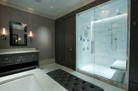 view in gallery master bathroom with glass doors offers visual connectivity with the bedroom