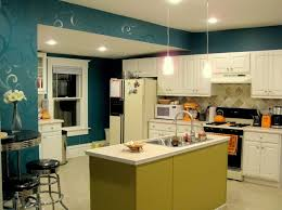 kitchen wall color ideas. Kitchen: Dark Cyan Kitchen Wall Color With Decorative Design Featuring White Ceiling Ideas S