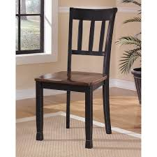 signature design by ashley owingsville um brown black wood ladderback dining chairs set of