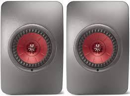 kef ls50. kef ls50 wireless speakers (pair) - titanium grey/red kef ls50
