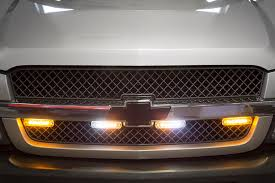 low profile vehicle led mini strobe light head built in How To Wire Strobe Lights On Truck low profile vehicle led mini strobe light head single or dual color 18 watt shown installed on truck grille in amber white (middle strobes), Strobe Lights On Cars
