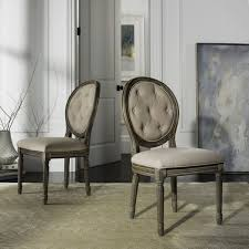 safavieh holloway rustic oak tufted oval dining chair set of 2