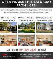 three open houses for three beautiful homes the sarver group cornelius homes for 300k 600k
