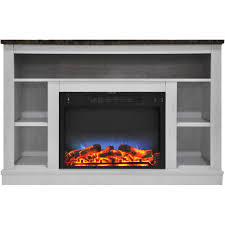 electric fireplace with a multi color led insert and white mantel