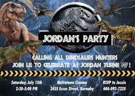 Jurassic Park Invitations Jurassic World Custom Birthday Invitation