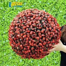 Decorative Boxwood Balls ULAND Red Artificial Boxwood Balls Plastic Plants Kissing Balls 78