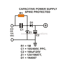 how to build a low cost and efficient transformerless power supply transformerless power supply spike protected circuit design image
