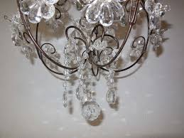 french clear crystal prisms bagues style flowers chandelier vintage in excellent condition for in mirandola