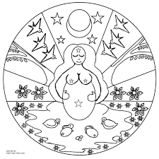 Small Picture Spring Mother Goddess Mandala Coloring Page