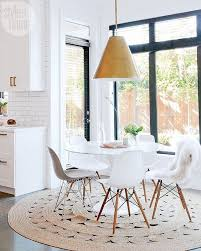 round rugs also work great under round tables such as under a round dining table
