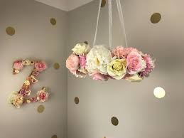 pink nursery flower chandelier nursery decor girls decor artificial flowers fl chandelier