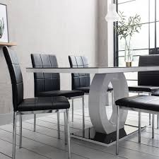 black glass dining table and 6 chairs set