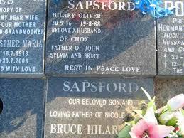 SAPSFORD Hilary Oliver 1916-1988 ::SAPSFORD Bruce Hilar