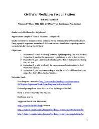 Venn Diagram Civil War Civil War Medicine Fact Or Fiction Lesson Plan For 7th 12th Grade