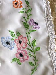 Pillow Case Hand Embroidery Designs 1950s Beautifully White With Hand Embroidered Flowers And