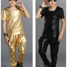 gold black leather short sleeves fashion boys kids children performance school play harem pants hip hop jazz dj ds singer costumes outfits wear