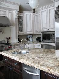 White Kitchen Granite Countertops Kitchen Tiled Pattern Kitchen Backsplash With Brown Leather