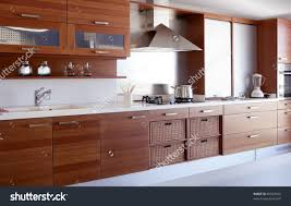 Red And White Kitchen Red Wood Kitchen White Kitchen Bench Stock Photo 66503326