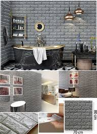 silver foam 3d brick wall sticker self 70x80cm