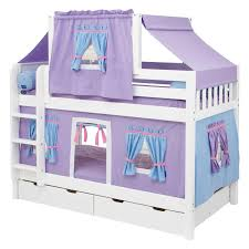 purple girl bunk bed with twin deluxe tent