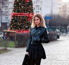 black dress zara leather jacket blonde girl look lookbook lil icons