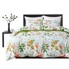 bedding set green duvet cover set fl print past luxury soft twin king queen size linen bedding blanket set grey and white comforter sets from